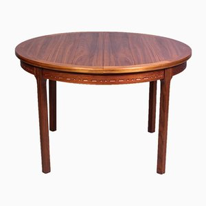 Mid-Century Swedish Round Walnut Dining Table from Hugo Troeds, 1960s