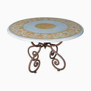 Italian Wrought Iron Scagliola Art Dining Table by Cupioli