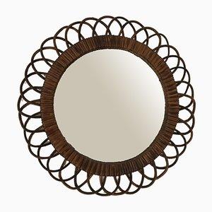 Round Rattan Mirror, 1960s