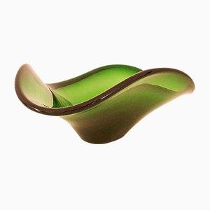 Jarrón vintage de cristal de Murano verde