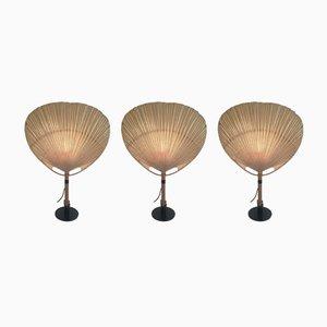 Lampes de Bureau Modèle Uchiwa II par Ingo Maurer pour M-Design, années 70, Set de 3