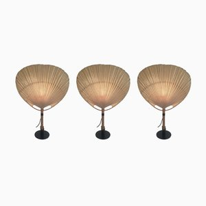 Model Uchiwa II Table Lamps by Ingo Maurer for M-Design, 1970s, Set of 3