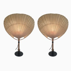 Model Uchiwa II Table Lamps by Ingo Maurer for M-Design, 1970s, Set of 2