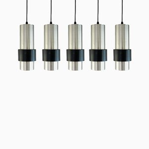 Mid-Century Aluminum and Black Metal Pendant Lamps, Set of 5