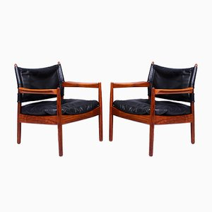 Mid-Century Rosewood and Leather Lounge Chairs by Sven Engström & Gunnar Myrstrand for Källemo, 1960s, Set of 2