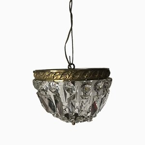 Vintage Glass and Brass Pendant Lamp