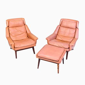 Danish Leather and Rosewood Lounge Chairs and Ottoman Set by Werner Langenfeld for ESA, 1960s