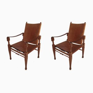 Vintage Safari Folding Chairs by Wilhelm Kienzle for Wohnbedarf, Set of 2