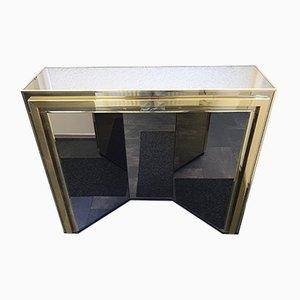 Consola Hollywood Regency de vidrio ahumado bañada en oro de Belgo Chrom / Dewulf Selection, años 80