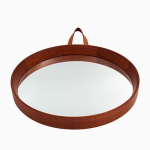 Mid-Century Scandinavian Teak and Leather Mirror, 1950s