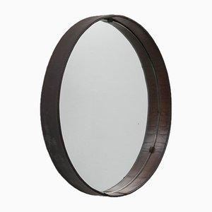 Specchio da parete rotondo Mid-Century in pelle cucita di Stildomus, anni '50