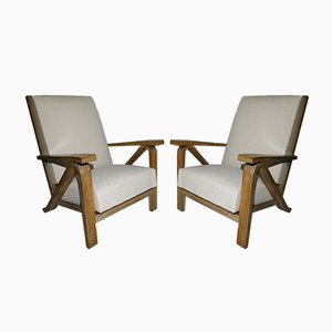 Vintage Oak Lounge Chairs, Set of 2