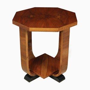French Art Deco Walnut Octagonal Side Table, 1930s