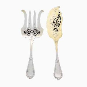 Antique Art Nouveau French Silver Cutlery, Set of 2