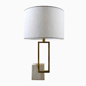 Lampe de Bureau en Laiton et Travertin, Italie, années 60