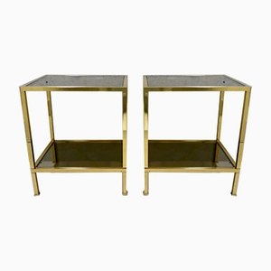 Italian Brass and Smoked Glass Side Tables, 1970s, Set of 2