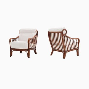 Rattan Armchairs by Lyda Levi for McGuire, 1970s, Set of 2