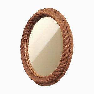 Espejo redondo de cuerda de Adoux & Minet, años 50