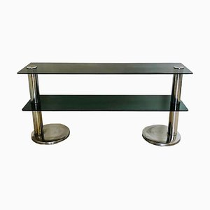 Vintage Chrome Plated Steel and Smoked Glass Console Table, 1970s