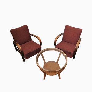 Coffee Table and Dining Chairs Set by Kropelka & Kropacek, 1940s, Set of 3