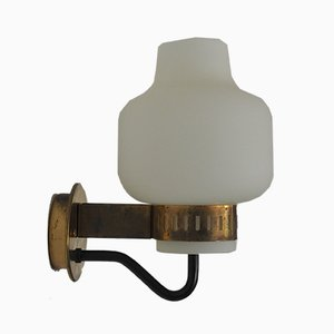 Italian Model 2030 Brass and Opal Glass Sconce from Stilnovo, 1950s