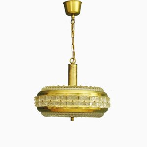 Glass and Brass Pendant Lamp, 1960s