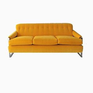 Sofá americano de cromo y terciopelo amarillo, años 70