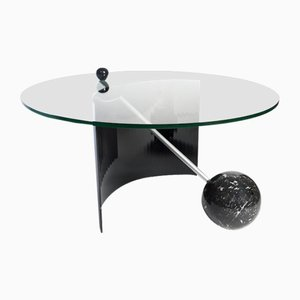 Vintage Italian Black Marble Coffee Table by Massimo Vignelli, 1970s