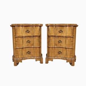Italian Walnut Nightstands, 1960s, Set of 2