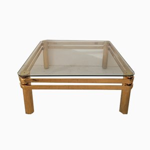 Large Mid-Century American Gold Metal and Glass Coffee Table, 1970s