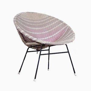 Mid-Century Scandinavian Steel and Rattan Garden Chair, 1960s