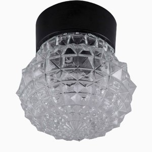 Vintage Clear Glass Ceiling Lamp, 1960s