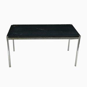 Tavolo da pranzo vintage in acciaio cromato e legno laccato nero di Fritz Halle per USM Haller, anni '80