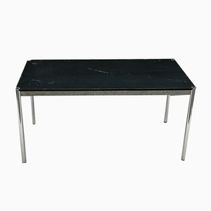 Vintage Chromed Steel and Black Lacquered Wood Dining Table by Fritz Halle for USM Haller, 1980s