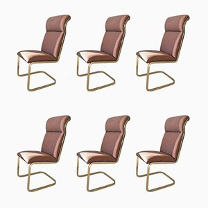 Mid-Century Cantilevered Dining Chairs, 1970s, Set of 6