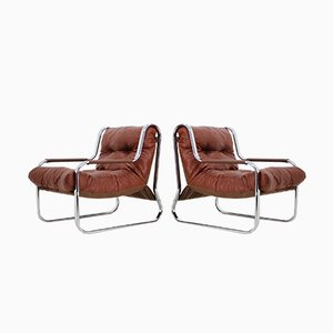 Chrome and Leather Lounge Chairs, 1970s, Set of 2