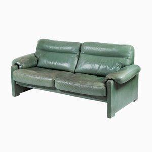 Canapé Vintage en Cuir Vert de chez de Sede, années 80