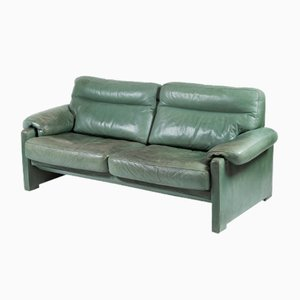 Vintage Green Leather Sofa from de Sede, 1980s