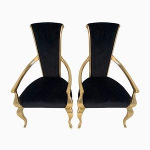 Art Deco Italian Dining Chairs, 1980s, Set of 2