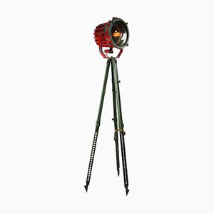 Vintage Industrial American Red and Green Metal Tripod Floor Lamp