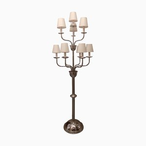 10-armige verchromte belgische Stehlampe im Stil des Art Déco von Devis, 1920er