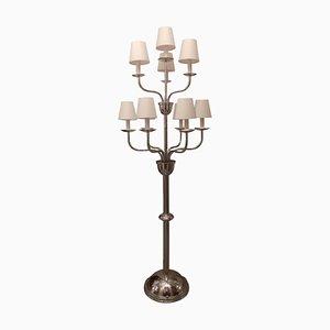 Art Deco Belgian Chrome 10-Arm Floor Lamp from Devis, 1920s