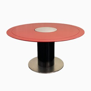Black and Red Lacquered Metal Dining Table, 1970s