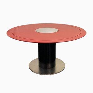 Tavolo da pranzo in metallo laccato nero e rosso, anni '60