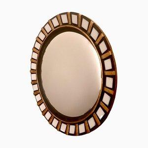 Espejo de cerámica dorada, años 60