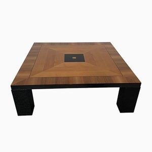 Art Deco Italian Walnut and Black Lacquer Coffee Table, 1980s