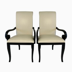 Art Deco Italian Black and White Dining Chairs, 1980s, Set of 2