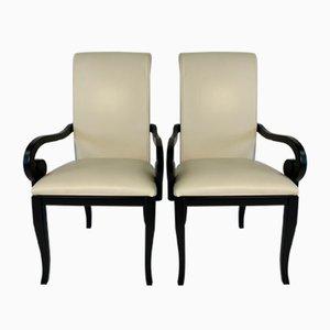Italienische Art Déco Esszimmerstühle in Schwarz & Weiß, 1980er, 2er Set