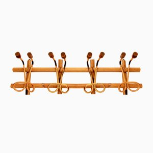 Italian Libellula Bamboo and Wicker Wall-Mounted Coat Rack, 1950s