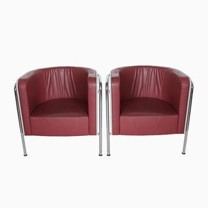 Leather and Wood Model S3001 Armchairs by Christoph Zschocke for Thonet, 1990s, Set of 2